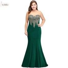 Русалка Плюс Размер Длинные Выпускные платья с вышивкой без рукавов Зеленый выпускное платье vestidos de gala