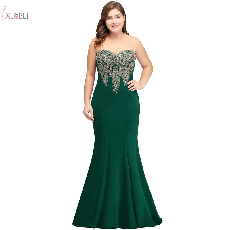 Mermaid Plus Size Long Prom Dresses Applique Sleeveless Green Gown vestidos de gala