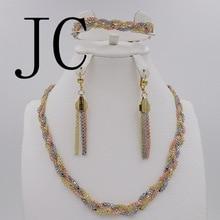 2016 JC Мода Дубай Позолоченные Комплект Ювелирных Изделий Нигерии Свадебный Африканские Бусы Серьги Ожерелье Установить 18 К/Роза/Whtie Золото