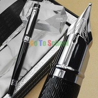 PICASSO 917 FOUNTAIN PEN BLACK AND SILVER MEDIUM NIB WITH ORIGINAL BOX