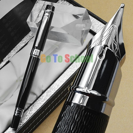 PICASSO 917 FOUNTAIN PEN BLACK AND SILVER FINE NIB WITH ORIGINAL BOX picasso 966 red fountain pen hooded fine nib shimmering sands with original box