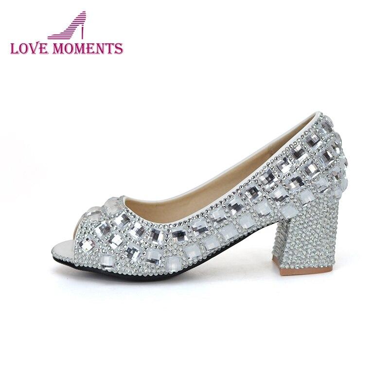 "Здесь продается  2018 Gorgeous Crystal Cinderella Prom Party Shoes Matric Graduate Farewell Ceremony Shoes Open Toe Wedding Shoes 2"" Thick Heel  Обувь"