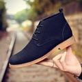 Los hombres de Cuero Nobuck Martin Botines Nuevo Invierno de Alta Superior Zapatos Calientes Zapatos de Cuero de La Vendimia Ocasional Mocasines Zapatos Hombre