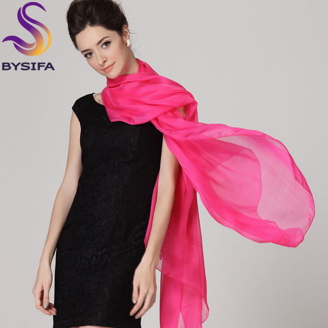 Dark Pink Silk Scarves Shawl 2016 New Arrival 100% Mulberry Silk Women Solid Color Thermal Long Silk Scarf Cape Winter Scarves