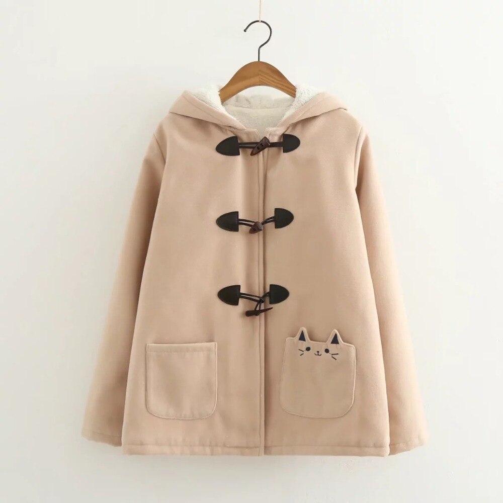 Image 3 - Lovely cat pockets warm hooded winter coat women jacket horn  button plus velvet 3colors M,Lwinter coat women plushood wintercoat  women