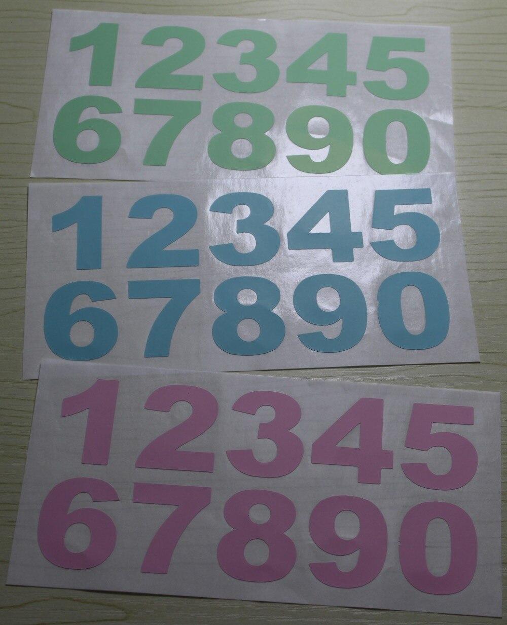 Light pink, light green, light blue colors Numbers sticker 18x9cm ...