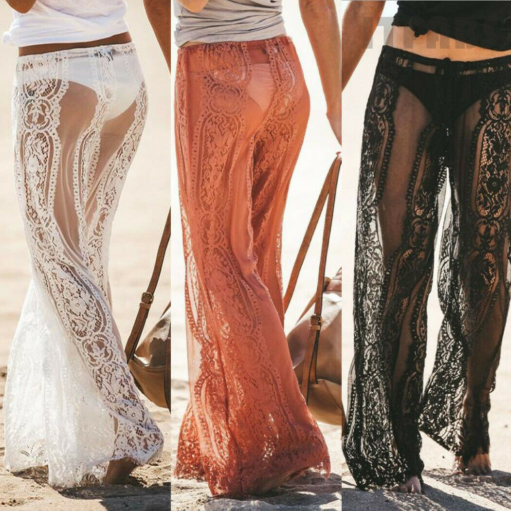 Sexy Women Lace Long Pants Floral Bandage Wide Leg See Sheer Through Long Trousers Beach Summer Holiday Casual Lady High Waist