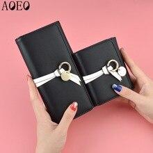 цены AOEO women wallets long short wallets three folder card holder clutch PU leather cute zip Small Mini Coin Purse Wallet Female