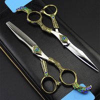 Top grade Germany 440c 6 inch Phoenix hair scissors set make up thinning scissor cutting barber hot shears hairdressing scissors