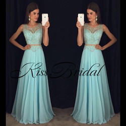 Gorgeous New Long Prom Dresses 2019 O-Neck Sleeveless Floor Length A-Line Beading Chiffon Evening Dresses Robe de soriee