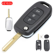 Keyecu Folding Flip Remote Key Shell Case Fob 3 Button for Renault Kadjar Koleos 2017
