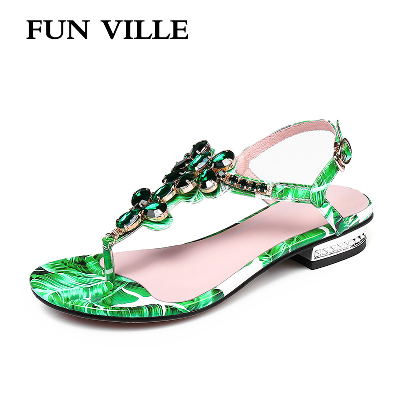 FUN VILLE Gladiator Flip-flop sandals summer New Fashion Women sandals Kid suede low heel sexy ladies shoes Flat with casual rhinestone silver women sandals low heel summer shoes casual platform shiny gladiator sandal fashion casual sapato femimino hot