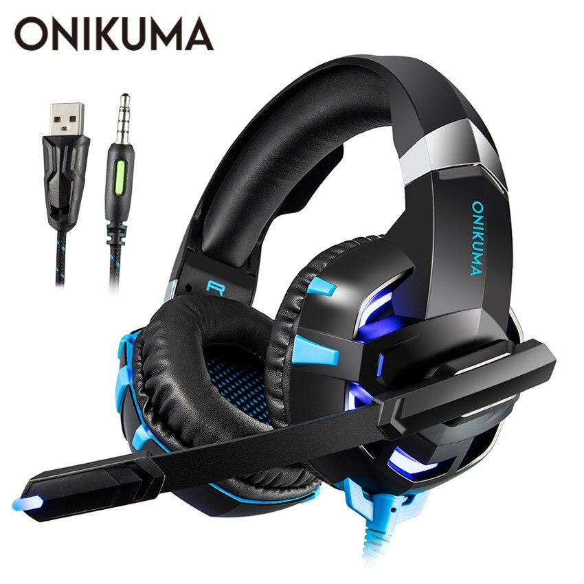 ONIKUMA K2 PS4 Gaming Headset casque PC Stereo Kopfhörer Kopfhörer mit Mikrofon Led-leuchten für Laptop Tablet/Neue Xbox ein
