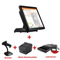15 дюймов светодиодный Дисплей pos оборудование продает с термопринтер/1d сканер и денежный ящик