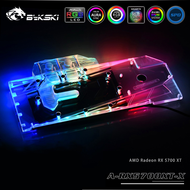 Bykski Water Block Use For AMD Radeon RX 5700 / 5700XT GPU Card / Full Cover Copper Radiator Block/3PIN 5V A-RGB / 4PIN 12V RGB