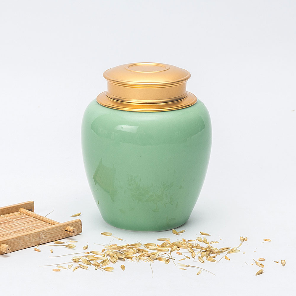 Newchinaroad Chinese traditional celadon double layer loose leaf tea caddy storage canister for puer tieguanyin oolong