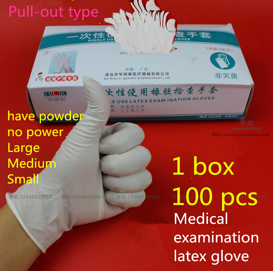 100pc disposable thicken medical examination latex glove Tatoo lab food operation clean dishe housework waterproof rubber gloves bt101f yz15 industrial medical lab food dispensing dosing filling tubing liquidperistaltic pump 0 006 420ml min