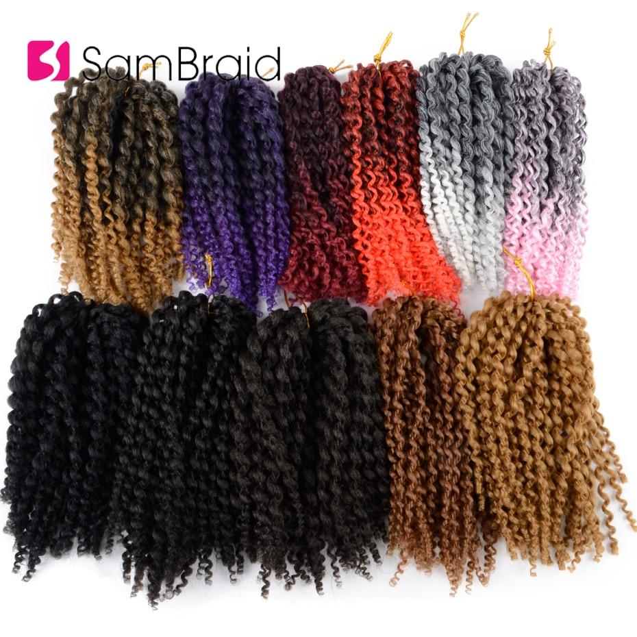 SAMBRAID Kinky Curly Crochet Hair Crochet Braid 8 Inch Crochet Braiding Hair Ombre Synthetic Hair Extensions