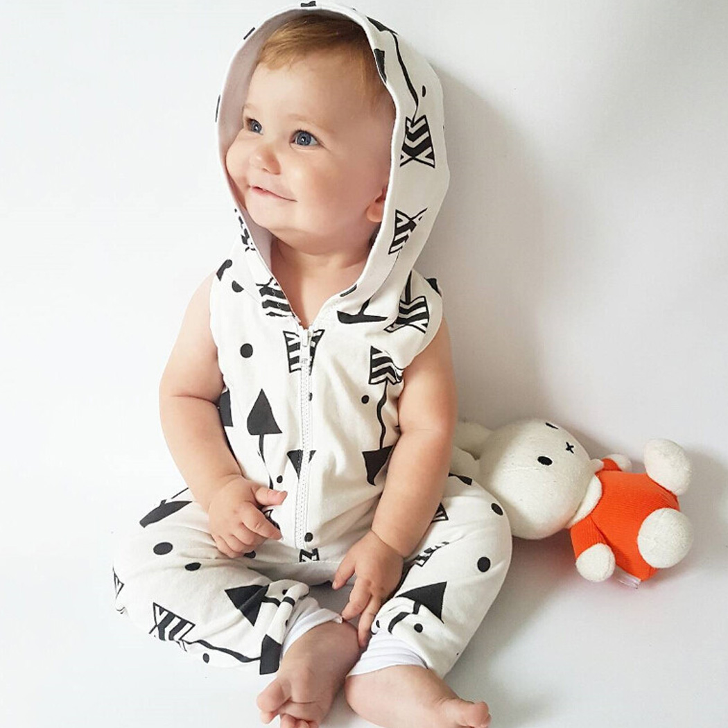 144112eb46a4 Romper Arrow Infant Baby Boy Kid Clothing Hooded Sleeveless Cute Zipper  Jumpsuit Outfits Baby Boys Clothes-in Rompers from Mother   Kids on  Aliexpress.com ...