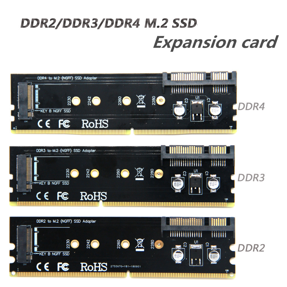 DDR Memory Card Slot To M.2 SSD B-Key Adapter Board, Compatible With DDR2, DDR3, DDR4