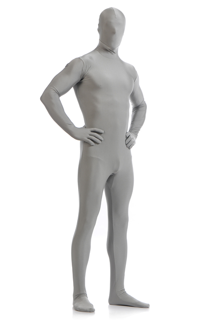 Adult Men Full Body Spandex Lycra Zentai Suit Gray Tight Suits Pure Color Christmas And Halloween