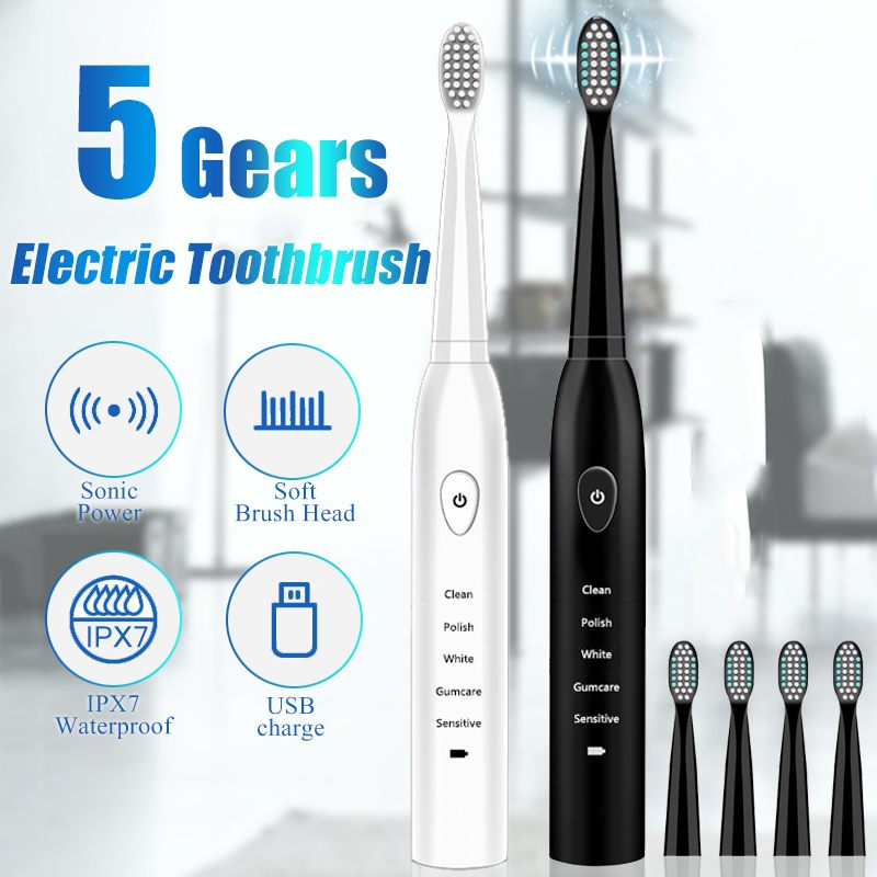 Electric Toothbrush Rechargeable Ultrasonic Washable Electronic Whitening Waterproof Teeth Brush Toothbrush Head Replaceable image
