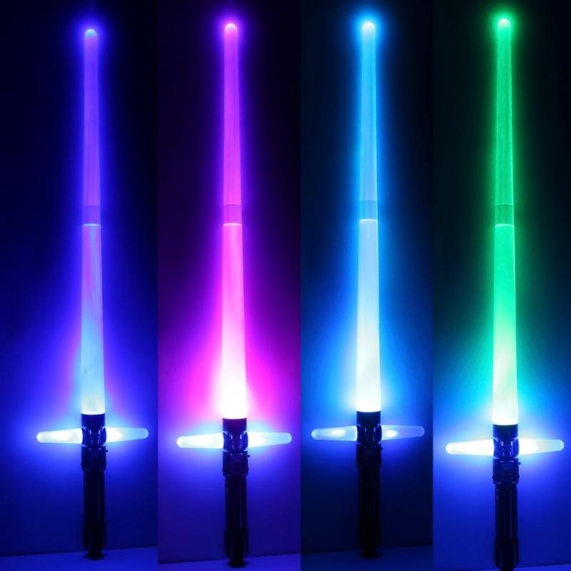 Colorful Cross Scalable Laser Sword Toy Children Telescopic 7 Color Flashing Simulated Current Sound Outdoor Light Accelerometer(China)
