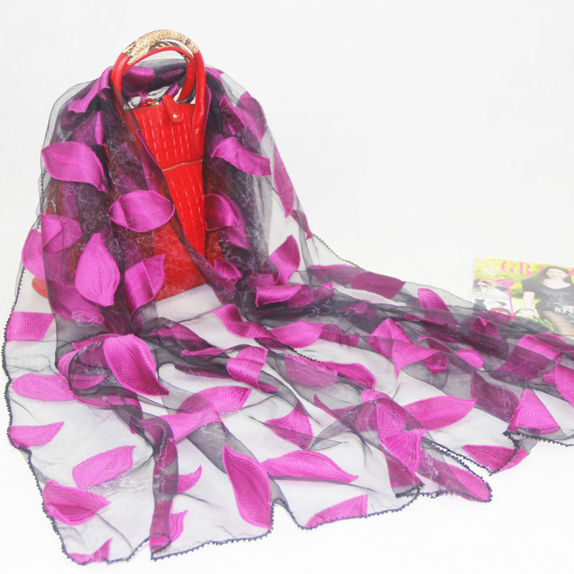 Embroidered Leaves Transparent Scarf | Lightweight Scarves | Up to 60% Off Now