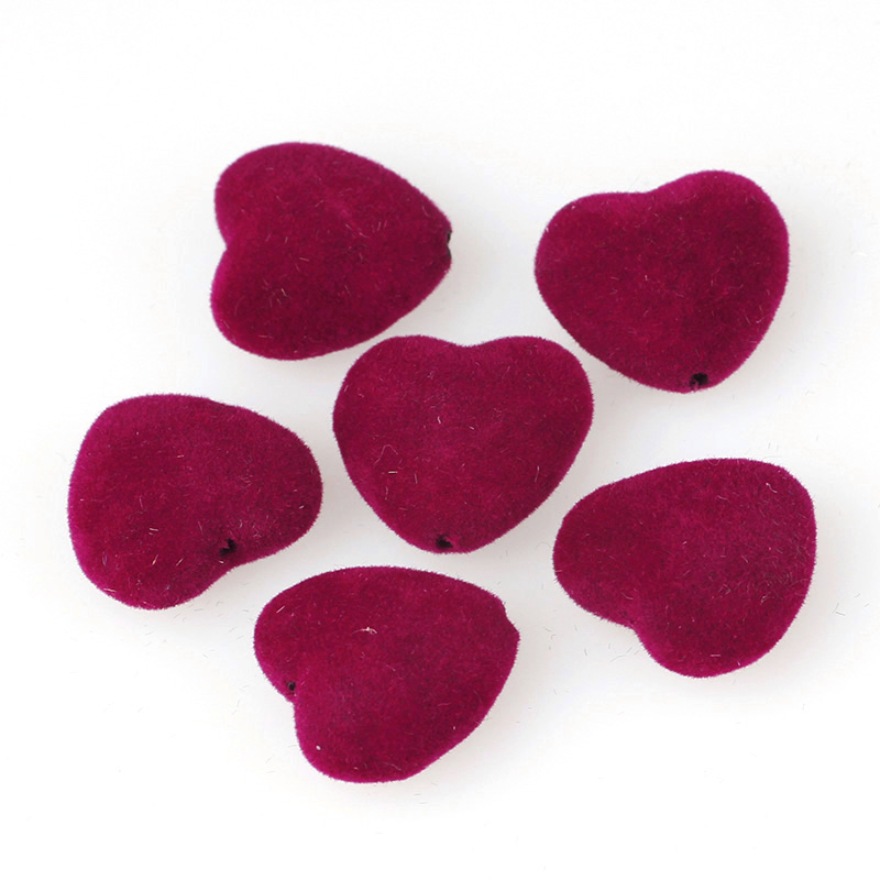 16mm Velvet Fabric Covered Heart Flat backs Cabochon Decoration DIY Buttons
