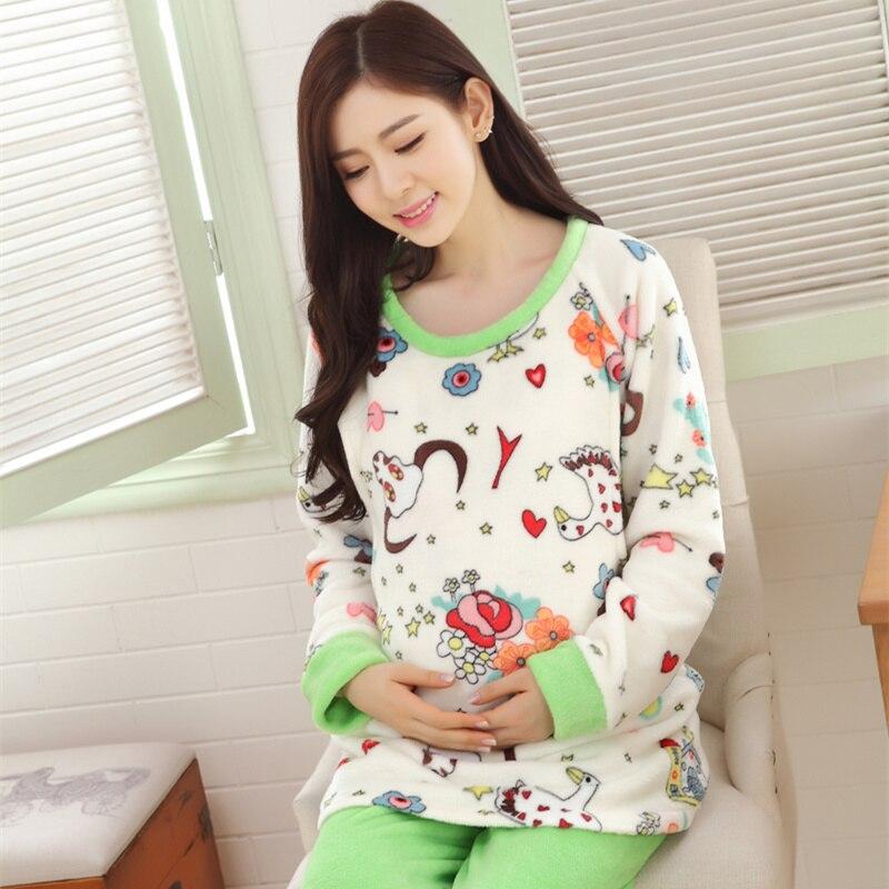 ФОТО Pregnant women printed pajamas Postpartumcoral fleece winter clothing maternity thickening lactation flannel fashion leisurewear