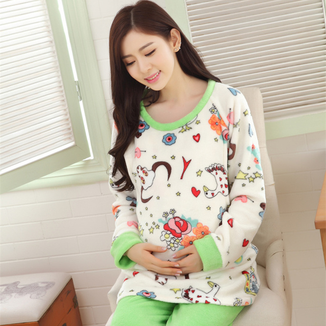 Pregnant women printed pajamas Postpartumcoral fleece winter clothing maternity thickening lactation flannel fashion leisurewear