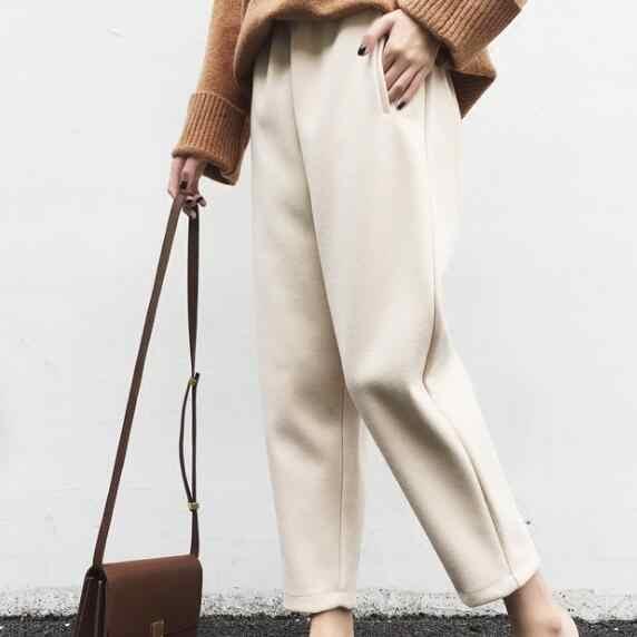 Элегантные зимние шерстяные женские брюки из гарема, плотные шерстяные теплые штаны больших размеров, свободные спортивные брюки, брюки с эластичным поясом AF670