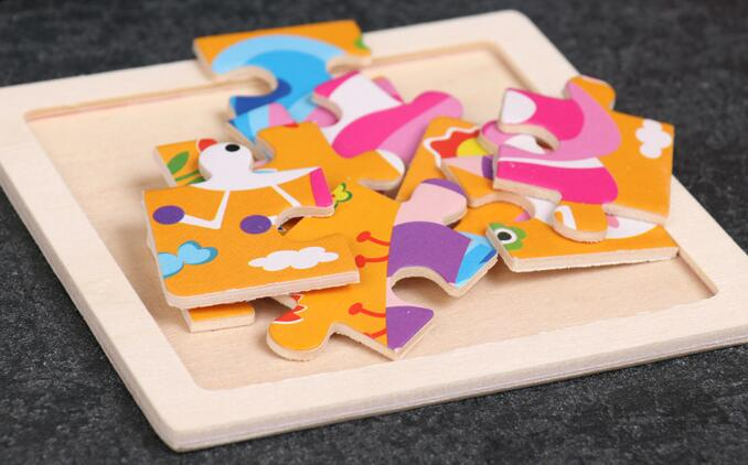 4PCS/lot 3D Wooden Jigsaw Puzzles for Children Kids Toys Cartoon Animal/Traffic Puzzles Baby Educational Puzles Wholesale GYH 6