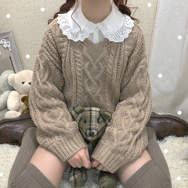 Winter Women Thick Warm Knitted Sweaters Long Sleeved Twist Knit Crochet Sweater Solid V-neck Soft Cropped Jumper Pullovers Tops
