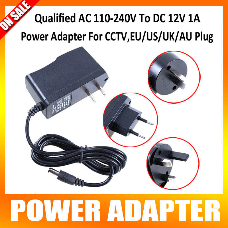 Qualified AC 110-240V To DC 12V 1A Switch Power Supply Adapter For CCTV,EU/US/UK/AU Plug qualified ac 110 240v to dc 12v 1a cctv power supply adapter eu us uk au plug abs plastic