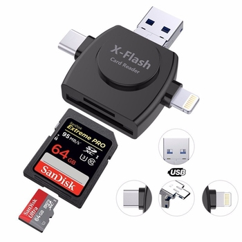 Kismo 4 in 1 Type-c/Lightning/Micro USB/Card Reader Micro SD Card Reader for iPhone/iPad/Android Camera Card OTG Card Reader