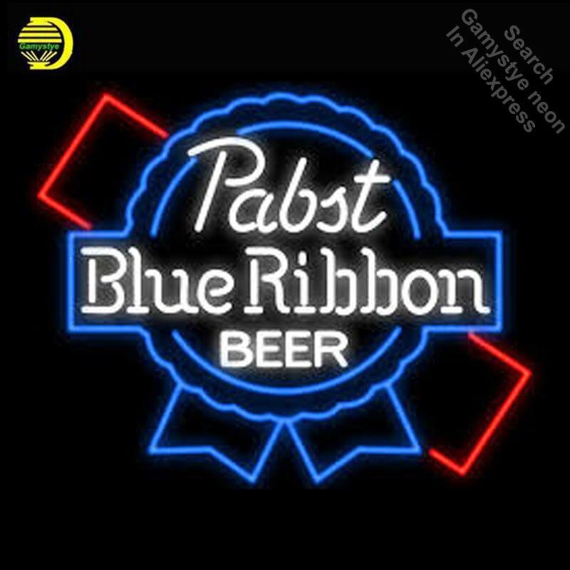 Pab azul ribbo sinal de néon cerveja luz néon tubo de vidro cerveja pub sinal de luz loja exibição artesanato anuncio luminoso icônico sinal