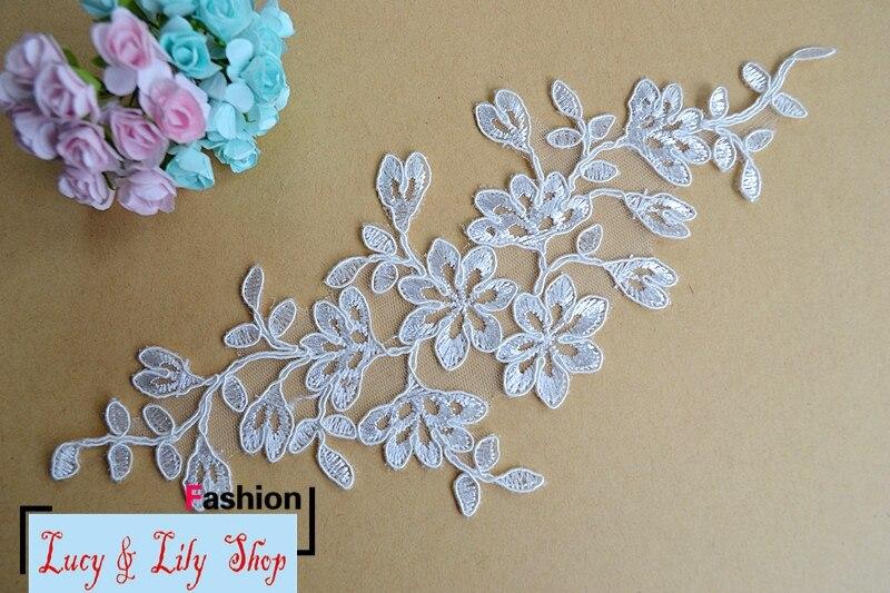 f466124a1b 25 10 cm ostatnie koronki aplikacja w pary haftowane koronki siatki łatki  szycia koronki kwiaty off biały dla suknia ślubna suknia ślubna