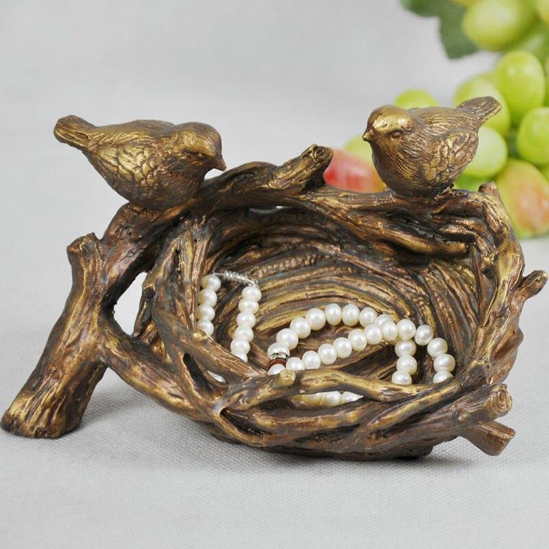 Unique nid d'oiseau modèle organisateur décoratif polyrésine Birdie amoureux Figurine mallette de rangement bibelot ornement artisanat accessoires