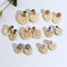 Bamboo Rattan Geometric Handmade Wooden Earrings Ladies Straw Braided Woven Pendant Retro Fashion