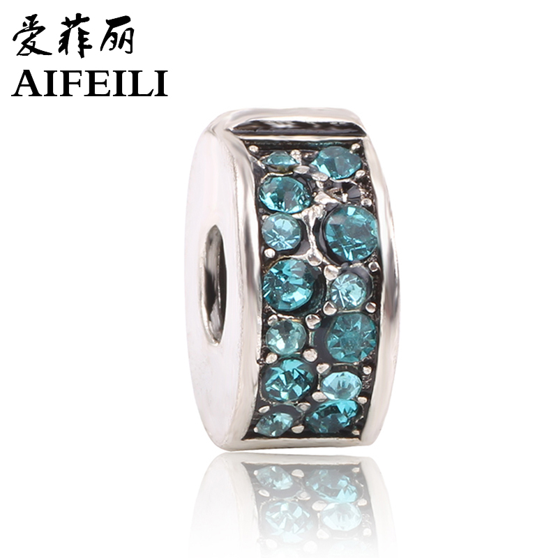 AIFEILI Safety Stopper Pave Cz Suitable For Style Bracelets Beads For Jewelry Making Fit Pandora Charms Bracelets For Women