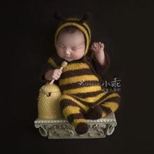 Bé sơ sinh Mohair đạo cụ chụp ảnh, bé mềm mại ong Bodysuit có nón Full nguyên bộ, chụp ảnh em bé áo liền quần đạo cụ