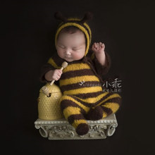 Newborn baby mohair photography props,baby soft bee bodysuit with hat full set,baby photography jumpsuits props