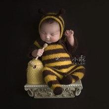 Pasgeboren baby mohair fotografie rekwisieten, baby zachte bee bodysuit met hoed volledige set, baby fotografie jumpsuits props