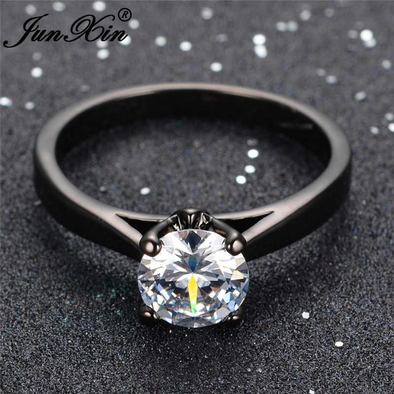 JUNXIN anillos finos redondos de circón Multicolor para mujeres, negro dorado, rojo, azul, rosa, piedra, bandas de boda, joyería minimalista