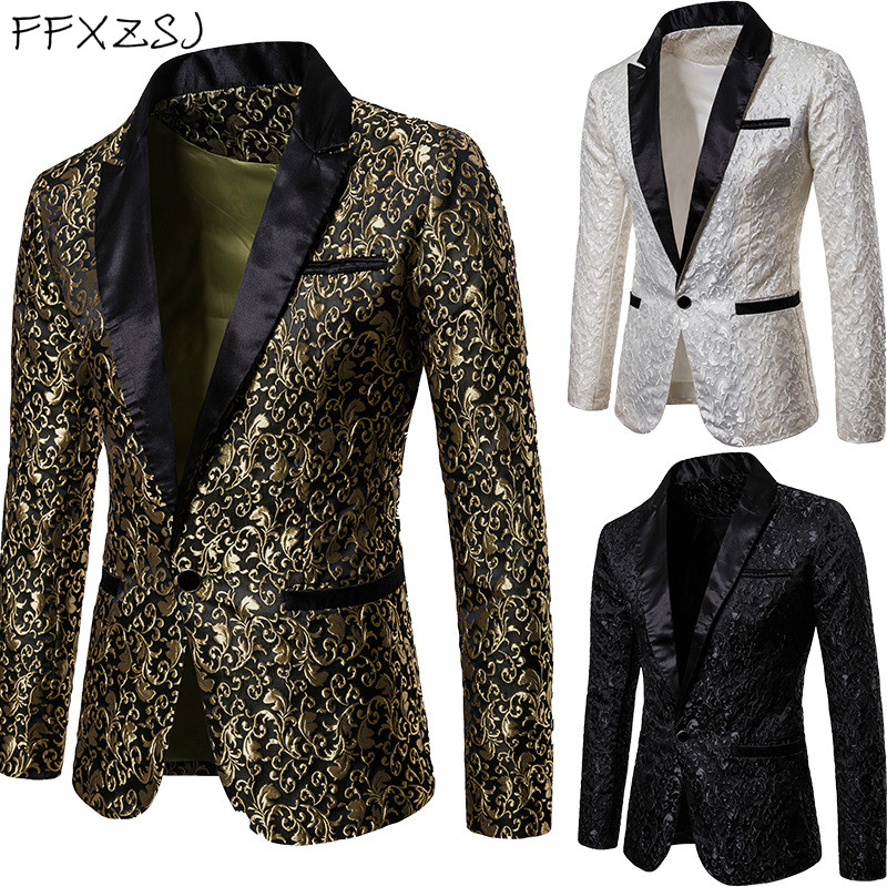 Lapel Golden Flower Print Blazers Men's Wedding Suit Jacket White Black Formal Coat Prom Singer Dancer Host Show Stage Costume