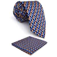 P14 Extra Long Floral Checked Multicolor Navy Mens Ties Pocket Square Ties Silk Handmade Fashion