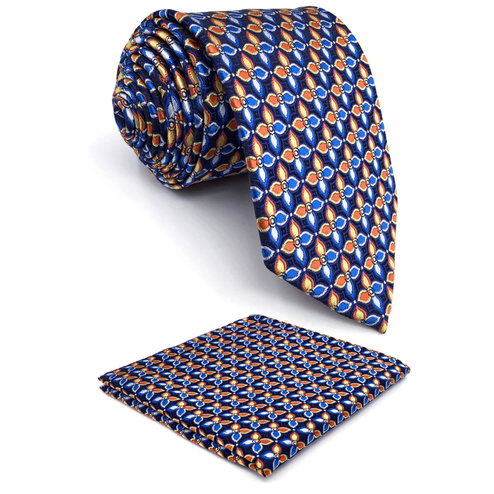 P14 Extra long size Floral Checked Multicolor Navy Mens Neckties Matching Hanky Ties 100% Silk Jacquard Woven Handmade Fashion