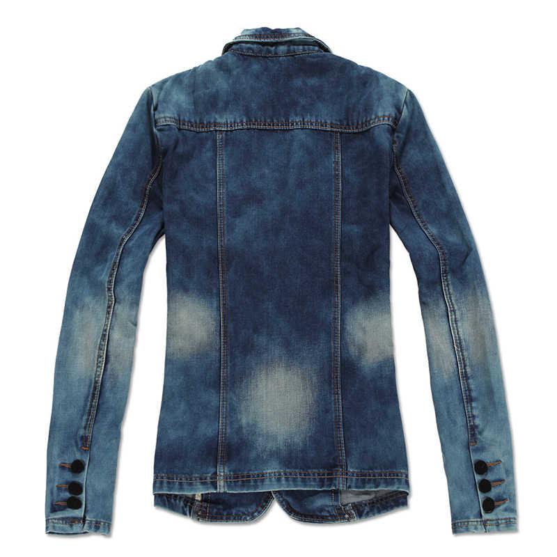 春 2018 メンズレトロカウボーイスーツメンズ洗濯単一行バックル長袖デニムジャケットの男性のファッションブレザー