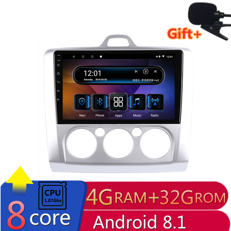 "9"" 4G RAM 8 cores Android Car DVD GPS Navigation For ford focus 2 2006 2007 2008 2009 2010 2011 audio stereo car radio headunit"